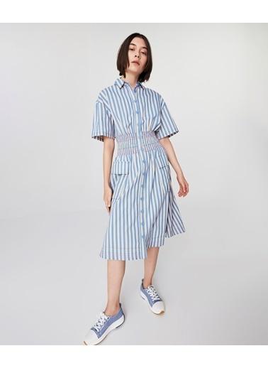 Twist Kadın Çizgili Gömlek  Elbise TS1210002221089 Mavi